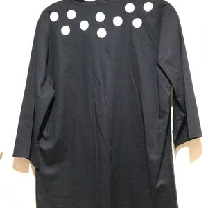 Navy cotton embroidered tunic top